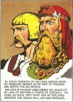 Arthur and Launcelot. Art and text: Hal Foster (from page 504, October 6, 1946). Source: Prince Valiant (Vol. 5): 1945-1946 – Hal Foster (Fantagraphics Books, 2012).