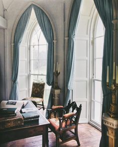 Another angle of the Strawberry Hill inspired Gothic library at Luggala, County Wicklow.
