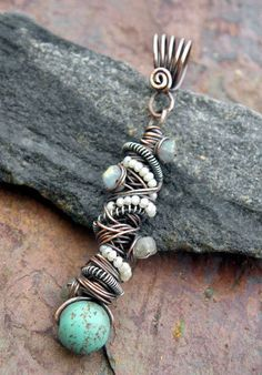 Tangled Pendant Copper Silver Magnesite by ThePurpleLilyDesigns, $21.00