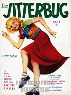 Jitterbug , cover of the no 1 issue of a new 1940s magazine for jazz and dance music swing fans stock photo