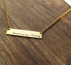Trust in the Lord Necklace Religious Necklace by sierrametaldesign