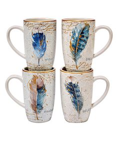 Love this Indigold Feather Mug - Set of Four on #zulily! #zulilyfinds