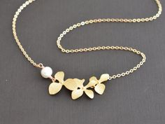 SALE Orchid and Pearl gold necklace Wedding necklace by LilliDolli