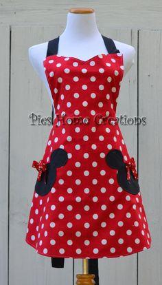 Delantal de Minnie Mouse, lleno de mujeres cocinando el delantal, delantal Reversible, inspiración a Minnie con bolsillos cabeza Mickey