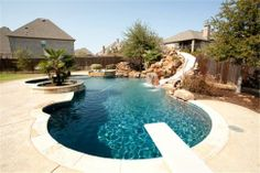 10926 Chaves Ct, Frisco, TX 75033 awesome pool with slide and diving board from MLS - Real Backyard Pool Designs, Swimming Pools Backyard, Swimming Pool Designs, Pool Landscaping, Backyard Patio, Outdoor Pool, Backyard Ideas, Diving Board, Pool Waterfall