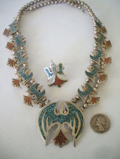 Vintage NAVAJO Sterling Silver 925, Turquoise and Coral Chip Inlay SQUASH BLOSSOM NECKLACE and RING SET.  TurquoiseKachina, $559.00