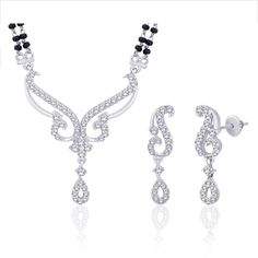 Peora Rhodium Plated Mangalsutra Set - PM59S