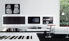 Jesse Open Wall Unit Composition , Wall storage systems, Go Modern Furniture Office Interior Design, Home Office Decor, Interior Design Living Room, Living Room Designs, Home Decor, Interior Designing, Navy Living Rooms, Living Room Decor Cozy, Living Room Modern