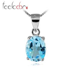 genuine 2.3ct natural sky blue topaz oval pendants solid 925 sterling silver women fashion fine 2016 hot sales wholesale