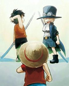 Luffy, Ace, Sabo, brothers, young, childhood, cute; One Piece