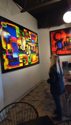 Kristi Lee checking out the #abstract #art #forever by #local #artist KWA  check out his site at www.kwa.us