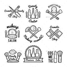 Labels Set for Beauty Salon. Monochrome Pictures
