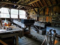 Like the layout of the benches and wall of windows. Windlesham carpenter's shop, Weald and Downland Open Air Museum
