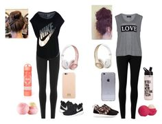 """""""At the gym with her friend"""" by girlalmeiida on Polyvore featuring moda, Max Studio, DKNY, NIKE, Carmakoma, Eos, Dolce&Gabbana, Beats by Dr. Dre, women's clothing e women"""