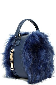 You'll go wild for the Fur the Best Navy Blue Faux Fur Purse! Vegan leather shapes this structured, round handbag with panels of faux fur on the front and back. Fur Purse, Fur Bag, Leather Bag Pattern, Fur Accessories, Diy Tote Bag, Round Bag, Denim Bag, Beautiful Bags, Purses And Handbags