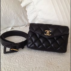"""XXSoldXX Vintage Chanel black waist belt bag 100% Authentic black quilted Chanel belt bag with belt. Good used condition.. Corners have rubbing (shown in photos). Classic Chanel quilted pattern. No rips or tears. Black belt measures 23"""" to 28.5"""" (based on holes) CHANEL Bags"""