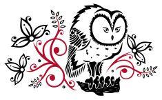 Owl, floral vector art illustration