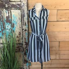 Sleeveless Striped Shirt Dress, Fashion & Jewellery – The Passionate Home, Langley BC Striped Shirt Dress, Fashion Jewellery, Dress Fashion, Wrap Dress, Rompers, Summer Dresses, Shirts, Collection, Jewelry