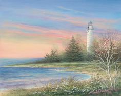 . Dream Pictures, Pictures To Paint, Pretty Pictures, Landscape Paintings, Watercolor Paintings, Beach Scenery, Lighthouse Art, Thomas Kinkade, House Landscape