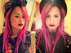 Demi Lovato Dyes Her Hair Hot Pink, Grabs Dinner With Selena Gomez Demi Lovato Body, Demi Lovato Hair, Hot Pink Hair, Pink Hair Dye, Dyed Hair, Modern Shag Haircut, Textured Haircut, Lob, Different Hairstyles
