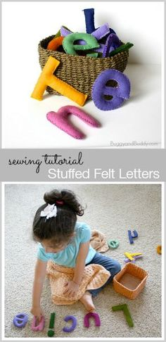 Make your own stuffed felt letters! (Perfect for hands-on learning and make great baby shower gifts too!)~ Buggyandbuddy.com Felt Letters, Alphabet Letters, Diy Letters, Sewing Letters, Alphabet Games, Felt Crafts, Preschool Classroom, Toddler Preschool, Toddler Activities