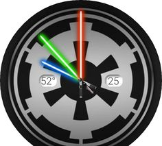 Cog, lightsabers, date + time + temp