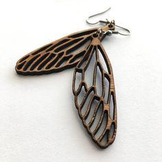 Wooden Dragonfly Earrings, Laser Cut Jewelry, Wood Earrings, woodwork, natural jewelry, dragonflies