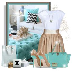 """Turquoise&Beige"" by katiediab on Polyvore"