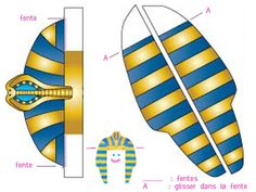 Free printable black-and-white and colored templates for making an easy wearable paper pharaoh headdress.
