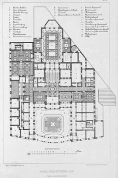 Floor plan of the Frankfurter Hof, Frankfurt Office Building Architecture, Historical Architecture, Architecture Plan, Amazing Architecture, Frankfurt, Mall Of America, North America, Hotel Floor Plan, Urban Design Plan