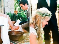 Feet washing ceremony at Christian wedding. It symbolizes your willingness to serve the other and to put them before you, similar to what Jesus did. I'll definitely be doing this at my wedding.