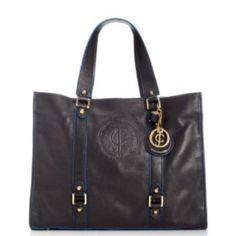 Juicy Couture Leather Handbag Black w/ Blue trim ~~~~~Love my initials! <3