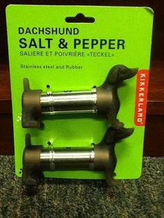 Dachshund Dog Salt Pepper Shakers Kikkerland Teckel Stainless Funny