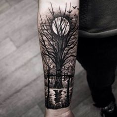 Tattoo tree at full moon