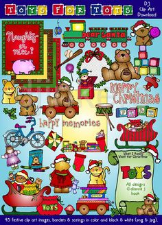 Toys for Tots, Christmas clip art, cute Christmas, toy clip art