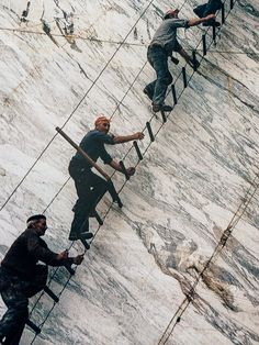 Workers at Marble Quarries iof Carrara. The Apennine. Italy