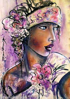 Tatiana - Peinture,  42x30 cm ©2012 par Dam Domido -            PORTRAIT EXPRESSIONISME FEMME, COTATION, TABLEAUX, FIGURATIF, DAM DOMIDO, MARINE, PAYSAGE, NATURE MORTES, paysage marin