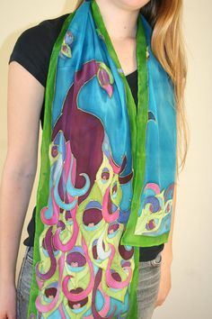 Hand-painted on flat crepe silk with silk paints. This scarf is a smaller size, perfect for a sweet, small gift for the holidays for all those special ladies on your Christmas list. MEMBER - Silkiness
