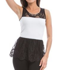 White lace peplum top Brand new, JUNIORS sizing. Two tops available: sizes small and medium Tops