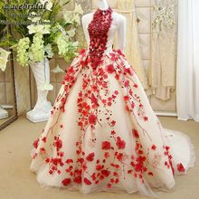 Dubai Luxury Ball Gown Embroidered Beaded Diamond Flowers Evening Dresses 2015 Backless Puffy Party Red Carpet Prom Gowns XE229(China (Mainland))
