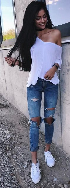 #summer #outfits  White One Shoulder Top + Destroyed Skinny Jeans + White Sneakers ☀️