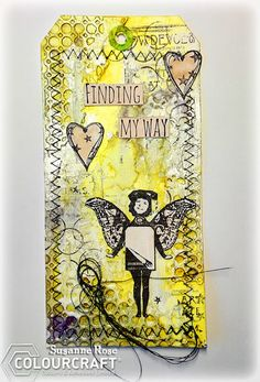 """Susanne Rose Designs: Mixed Media tag with Brushos , Rubber Dance and Viva Las VegaStamps. Save the shipping costs over at rubberdance.com with the code """"SRFreeShip"""" on all orders over 15€. Art Journal, Sewing, Stamping, Rubber Stamp, Memory Box Die"""