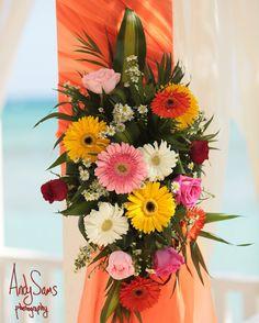 Tulum Mexico Beach Flower Arrangement.  Yellow, Pink, White, Yellow Daisies