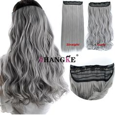 """Cosplay hairpieces  24"""" One Piece Straight grandma gray Clip In Hair Extensions Synthetic False Hair Hairpiece  For Women Girls"""