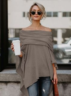 Off Shoulder Irregular Loose Fit Tee novashe.com