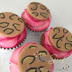Pink Animal Print Cupcakes www.sweetsecretsdubai.com Animal Print Cupcakes, Buttercream Cupcakes, Pink Animals, Sweet, Party, Desserts, Food, Candy, Tailgate Desserts