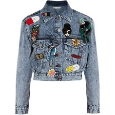 Alice + Olivia Chloe appliquéd denim jacket (1,460 BAM) ❤ liked on Polyvore featuring outerwear, jackets, casaco, coats & jackets, пиджак, blue, beaded denim jacket, sequin crop jacket, blue sequin jacket and blue jean jacket