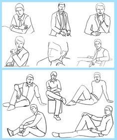 Sitting poses for men.