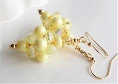 Pastel Yellow Easter Earrings Swarovski Crystal Pearl Yellow Cluster Bead Ball Earrings Pastel Easter Holiday Cluster Bead Gold Earrings by hhjewelrydesigns on Etsy