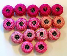 Lot of 16 DMC Perle Pearl COTTON CROCHET Thread 95 Yard Balls SIZE *8 Pinks NEW #DMC